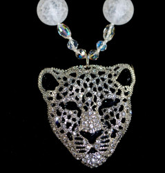 close up of Snow Leopard pendant, note-pendant has two layers