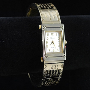 3/4 view of gold tone watch