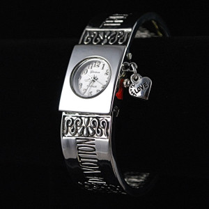 3/4 view of Cuff message bracelet watch