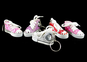 Tennis shoe keychains, enhanced w/Swarovski crystals