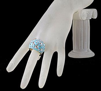 Bling Blue ring on hand model