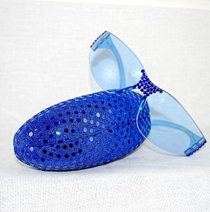 Safety Blue Sunglasses w/Sequined hard case