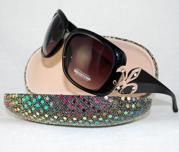 3/4 view shown with sequined hard case available on site