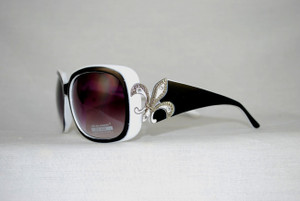 Bling Fleur de Lis Sunglasses/White and Black