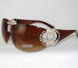 Bling Gradient Rimless Heart design Sunglasses w/Brown frames