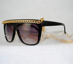 3/4 View of Chain link sunglasses