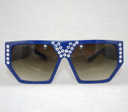 Rare navy color w/clear crystals front view