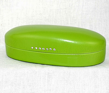 3/4 view of the lime eyeglass/sunglasses hard case