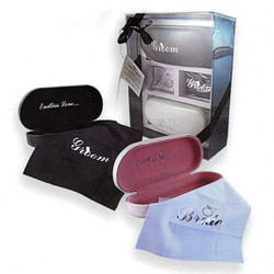 Bride and Groom Wedding Set: cleaning cloths for each, hard cases, and sunglasses for each
