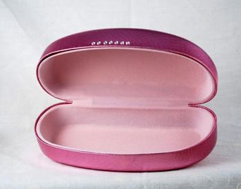 Metallic Pink eyeglass or sunglasses hard case w/light pink flocked interior