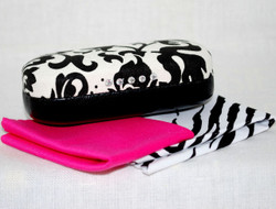 Shows case w/eyeglasses lens cloths in case you want to also match eyeglasses case