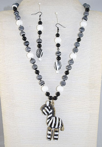 Full view of Zebra necklace set