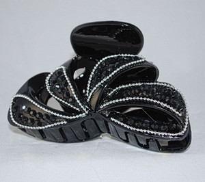 Front view of jet black crystal jaw clip