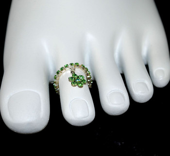 Front view of toe ring w/charm