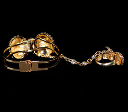 Rear view of hinged bracelet and ring