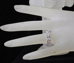 AB Crystal double row stretchable ring