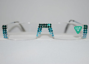 Bling Swarovski Crystal Custom Readers/Magnifiers w/Cascading Aqua Color Hues