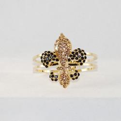 Front view of gold & jet crystal bracelet