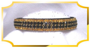 "Bling Jet & Topaz Crystal 5/8"" wide Black Velvet Dog Collar"