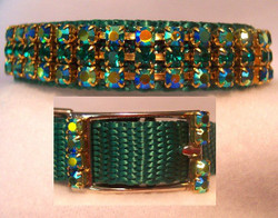 The gorgeous AB Emerald green 3 row crystal dog collar also comes with the bling buckle.  If you want it to accommodate a match leach, it is also available!