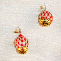 Close up of fabric pierced Earrings