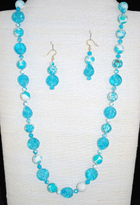Full view of hand-beaded/knotted necklace set