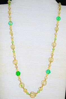 """Full view of 25"""" hand-beaded/knotted necklace"""
