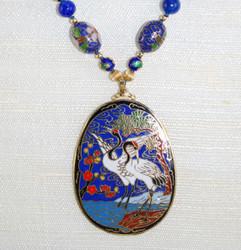 Close up details of Enameled pendant