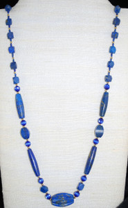 "Satin finish Lapis Lazuli 30"" necklace"