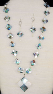 """Full view of 24"""" necklace set on 2-D white bust"""