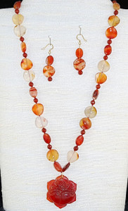 "A Cedar Rose (24"") -Carnelian Necklace Set"