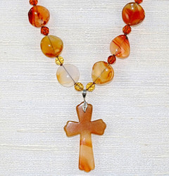 Close up of Cross Pendant and beads