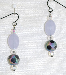 Up close view of drop earrings. NOTE: If are worried about a matte black ear wire causing a problem with allergies, please request an allergy treatment that I can apply that will solve that problem!