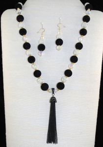 "Black Velvet with White Lace   22.5""  hand-knotted necklace set"