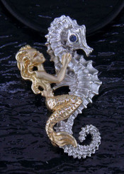 Steven Douglas Sterling silver and 14k gold Mermaid w/ Sea horse