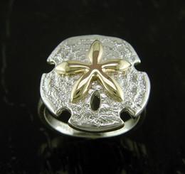 Steven Douglas Sterling silver and 14k gold Sand Dollar ring