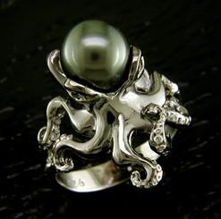 Steven Douglas Sterling silver Ocotopus w/ Tahitian pearl