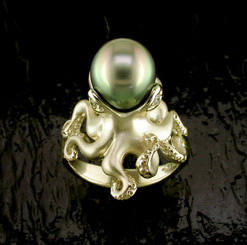 Steven Douglas Sterling 14k gold  Octopusw/ Tahitian Pearl and Diamonds