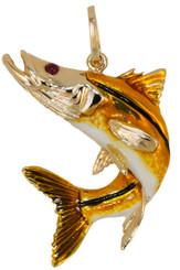 Reyes Del Mar 14k Yellow Gold enameled Snook Pendant