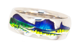 Sterling Silver Salt water fish ring Mahi Sailfish and Marling