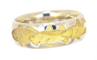 Reyes Del Mar Sterling silver two tone ring with Snook Trout and Redfish
