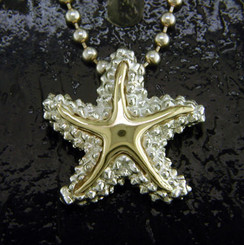 Steven Douglas Sterling silver and 14k gold Starfish Pendant