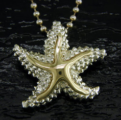 Steven Douglas Sterling silver and 14k gold large Starfish Pendant