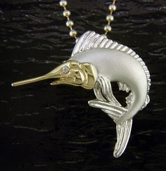 Steven Douglas Sterling Silver and 14k Gold Marlin Pendant