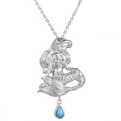 Sterling Silver Larimar Mermaid Pendant w/ Chain