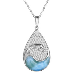 Sterling Silver Larimar Crystal wave pendant