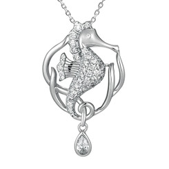 Sterling Silver Pave Crystal Seahorse pendant w/ chain