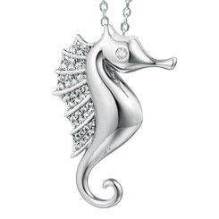 Sterling Silver Crystal Seahorse Pendant w/ chain