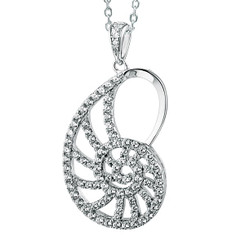Sterling Silver Pave Crystal Nautilus Pendant w/ chain