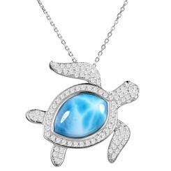 Sterling Silver Larimar Turtle Pendant w/ chain